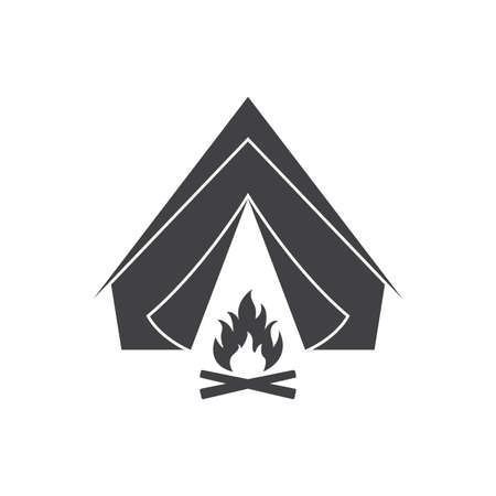 Tent with campfire. Camp icon. Vector illustration.