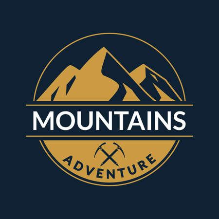 Mountain logo or badge. Adventure round label. Vector illustration. Çizim