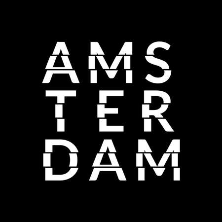 Amsterdam typography text. Amsterdam modern design with glitch effect. T-Shirt, print, poster, graphic. Vector illustration.