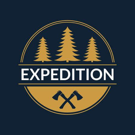Expedition emblem or logo. Forest label. Camp, outdoor adventure design concept. Vector illustration.