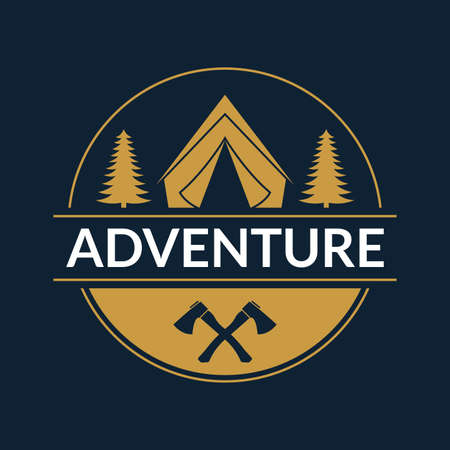 Adventure logo or badge. Camp with tent in the forest. Outdoor expedition label. Vector illustration.