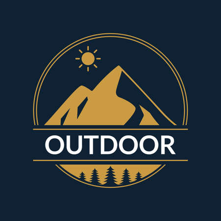 Outdoor Adventure logo or badge with mountains and forest. Explore round emblem. Vector illustration.