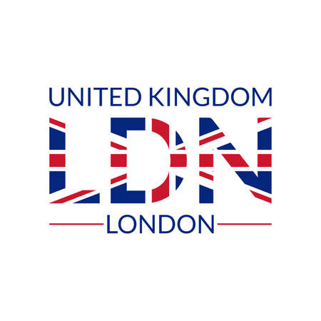 London typography text. LDN design with UK or British flag. T-Shirt, print, poster, graphic. Vector illustration. Çizim