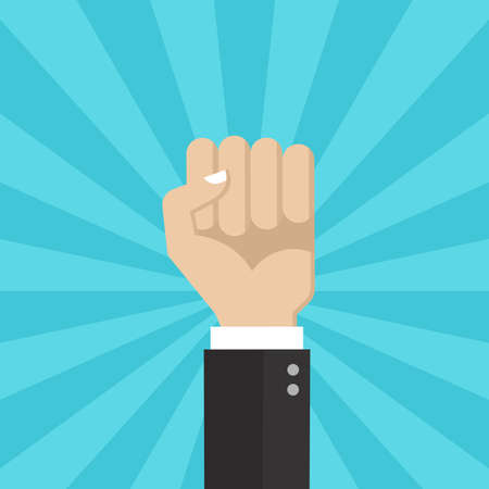 Fist with hand up. Revolution, protest or win and celebrating symbol. Businessman fist up. Vector illustration.