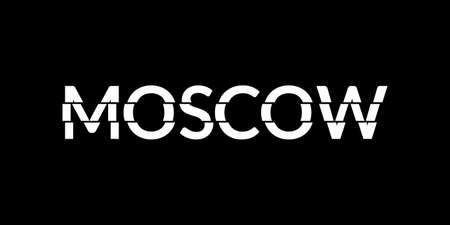 Moscow typography text. Modern design with glitch effect. T-Shirt graphic. Vector illustration.