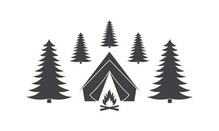 Tent with campfire in the forest. Camp icon. Vector illustration.