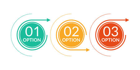 3 steps, option or levels line infographic with arrow. Timeline info graphic. Business presentation, information brochure, banner, workflow layout template. Vector illustration.