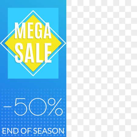 Mega Sale banner. Social media post or web ads design template. Price off discount background. Vector illustration. Vetores