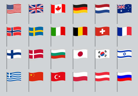 Flag icon set. Waving flags of different countries of the world on stick or pole. Vector illustration. Illusztráció