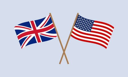 UK and US crossed flags on stick. American and British national symbol. Vector illustration. Çizim