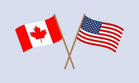 US and Canada crossed flags on stick. American and Canadian national symbols. Vector illustration. Ilustração