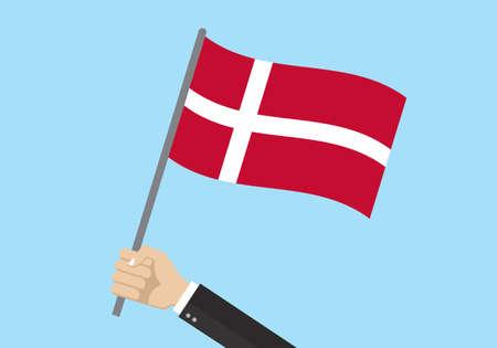 Denmark waving flag. Hand holding Danish flag. National symbol. Vector illustration. Çizim