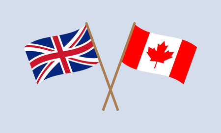 UK and Canada crossed flags on stick. British and Canadian national symbol. Vector illustration. Çizim