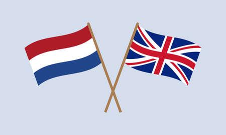 UK and Netherlands crossed flags on stick. Holland and British national symbol. Vector illustration. Çizim