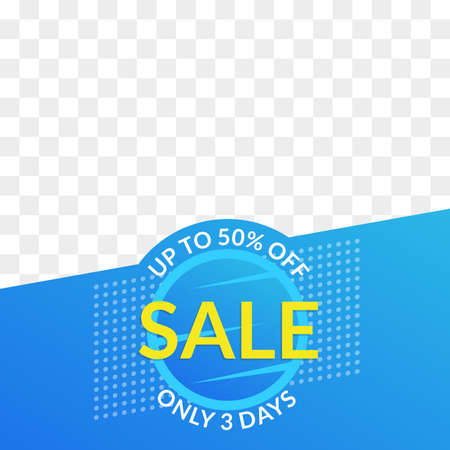 Sale banner. Social media post or web ads design template. Price off discount background. Vector illustration. Ilustração