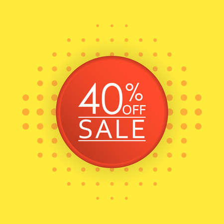 Sale banner design. 40 percent price off discount label or tag. Promo badge for advertising design. Vector illustration.