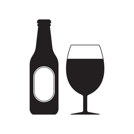 Beer bottle with glass icon. Alcohol drink silhouette. Vector illustration.