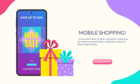 Sale banner with Smartphone discount and gift boxes. Mobile or Online shopping design. Vector illustration.