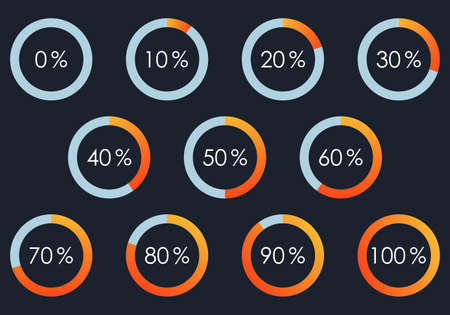Percentage Pie chart set. From 1 to 10 percent diagram. Circle progress bar for Ui, web and graphic design. Vector illustration. Ilustração