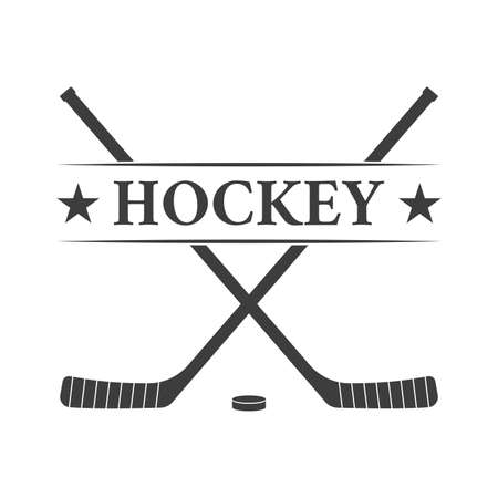 Ice hockey club or badge with crossed hockey sticks and a puck. Vector illustration.