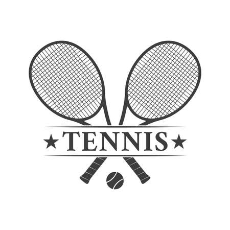 Tennis design or icon with two crossed rackets and tennis ball. Vector illustration. Ilustração