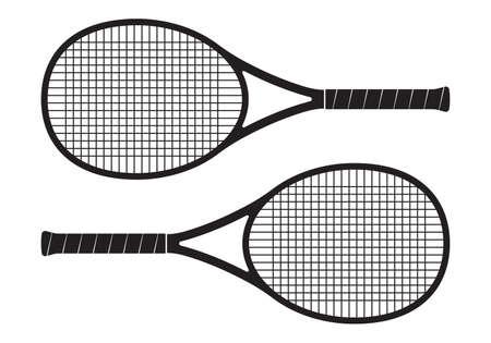Tennis racket icon. Two rackets black silhouette. Vector illustration. Illustration