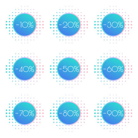 Sale label or tag set. Price off stickers with 10,20,30,40,50,60,70,80,90 percent discount. Modern promo badges for advertising design. Vector illustration.