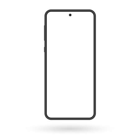 Smartphone mockup. Mobile phone screen blank. Black cellphone isolated on white background. Vector illustration. Ilustração