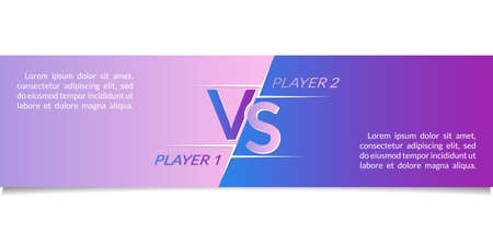 Versus horizontal banner. VS background for battle, game, sport team, boxing fight, match, competition. Header or footer for web or website with space for text. Vector illustration.