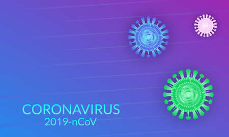 Coronavirus background with virus cell or bacteria. Flu disease banner. Vector illustration.