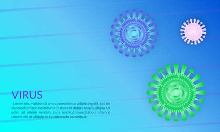 Virus cell or bacteria background. Virus outbreak and Flu disease banner. Vector illustration. Ilustração
