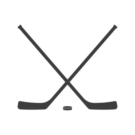 Ice hockey crossed sticks and puck icon Black silhouette isolated on white background. Sport equipment symbol. Vector illustration. Ilustração
