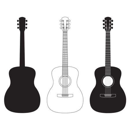 Acoustic guitar set. Music instrument silhouettes. Vector illustration.