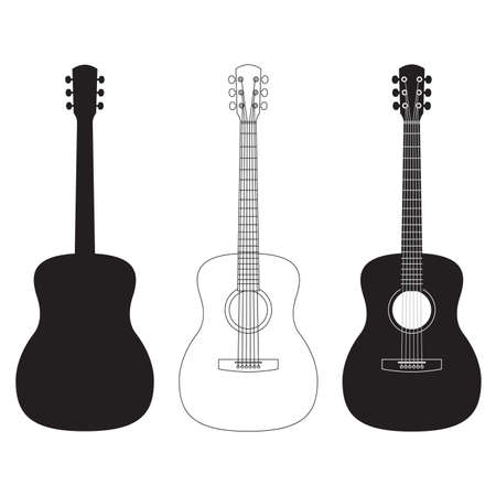 Acoustic guitar set. Music instrument silhouettes. Vector illustration. Ilustração