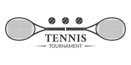 Tennis tournament  or badge with two rackets and tennis balls. Vector illustration.