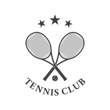 Tennis club  design with two crossed rackets and tennis ball. Vector illustration.