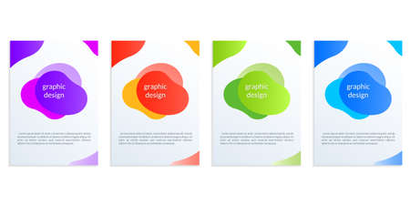 Modern cover design set with abstract fluid shapes. Banner, poster, book cover, flyer or business brochure template with dynamic graphic elements. Vector illustration.