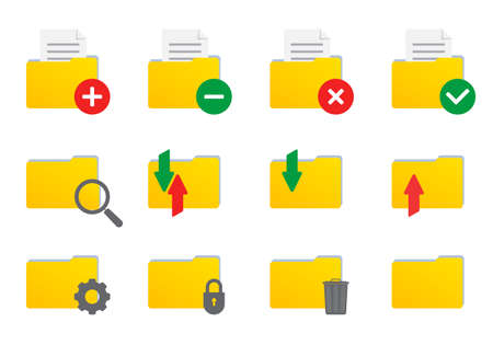 Folder icon set for file and documents. Vector illustration.