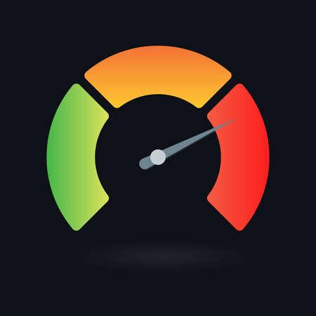 Speedometer icon. Gauge, meter or progress indicator with arrow. Vector illustration. Vector Illustration