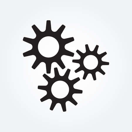 Gear icon. Cog wheel and machinery symbol. Vector illustration. Ilustração