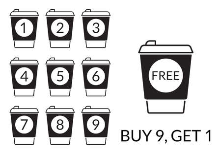 Take away coffee cup concept. Buy 9 cups and get 1 for free. Design element for promotion cafe card or loyalty voucher. Coffee to go icons. Vector illustration. Ilustração