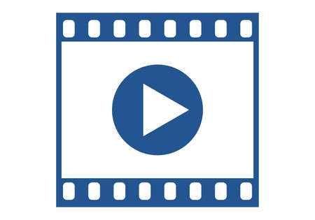 Film strip with play button icon. Video and movie concept. Vector illustration.