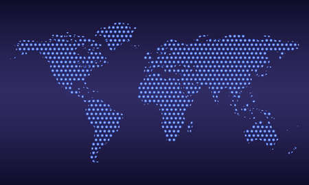Dotted world map isolated on dark blue background. Vector illustration.