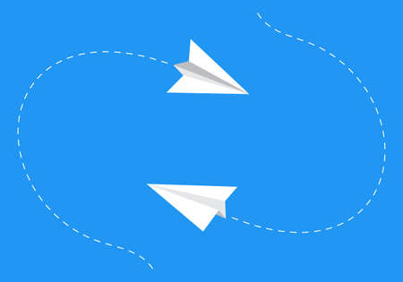 Paper planes following a path. Airplane track or route with dotted lines. Vector illustration.