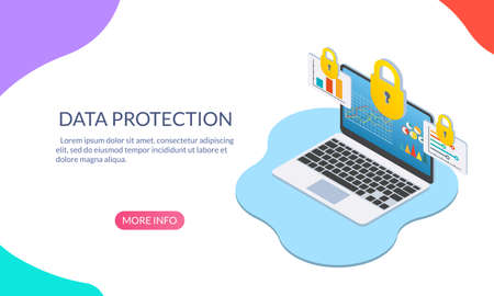 Data protection concept with laptop computer and padlock. Security and Internet privacy isometric design template. Vector illustration. Ilustração