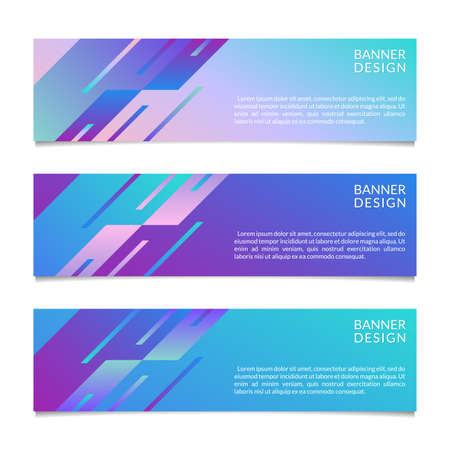 Banner design template with abstract geometric shapes. Horizontal banners for web, website, header or footer, sale, promo or presentation cards. Vector illustration.