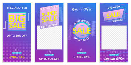 Stories Sale banner design templates. Discount Frames for Smartphone story. Social Media layout with Swipe Up button. Special offer and Price off coupon. Vector illustration. 向量圖像