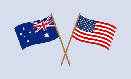 Australia and US crossed flags on stick. American and Australian national symbols. Vector illustration.