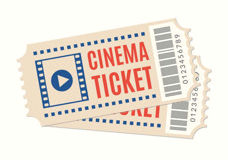 Cinema ticket icon. Movie or film admission coupon. Two tickets. Vector illustration.