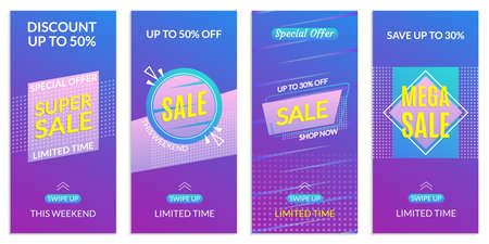 Stories Sale banner design templates. Discount Frames for Smartphone story. Social Media layout with Swipe Up button. Special offer and Price off coupon. Vector illustration. Ilustração